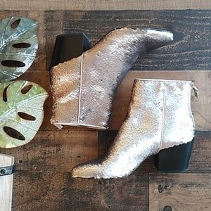 Dolce Vita Silver Sequin Booties